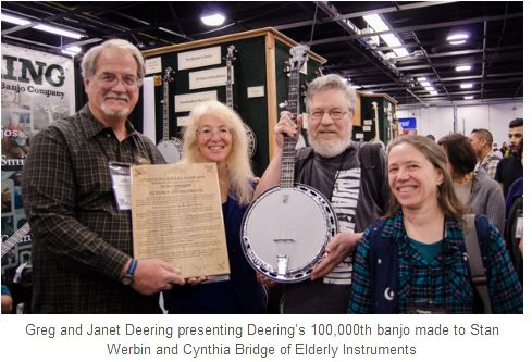 Deering Presents 100,000th Banjo