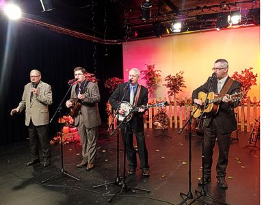 The Marksmen Quartet, from left, Earle Wheeler, Aaron Johnson, Mark Wheeler, and Darrin Chambers share music from their new CD recently on WGGS-TV in Greenville, S.C.