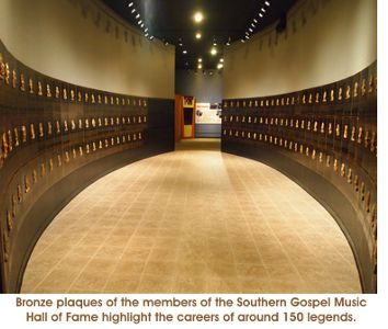 Bronze plaques of the members of the Southern Gospel Music Hall of Fame highlight the careers of around 150 legends
